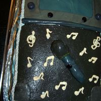 Lindsay's Karaoke Party Cake I used 3 boxes French White Cake, and used blue food paste to make swirls in it. The filling is chocolate pudding with cool whip, and I...