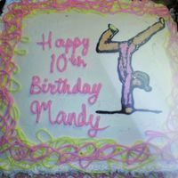 Gymnastics Cake Freehanded in buttercreme and piping gel.Thanks for hte idea.