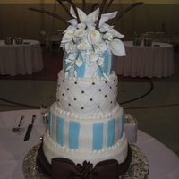 "Congratulations Rico And Kaylynn!  Fun doing this even though I had my FIRST cake disaster and dropped and ""smooched"" the 6"" tier! UGH! But, all came out okay..."