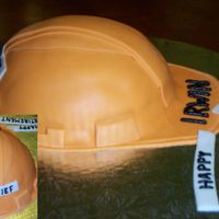 Hard Hat Retirement Cake This cake was made for a friend who requested an orange hard hat with 'the chief' labelled on the back. I used the wilton soccer...