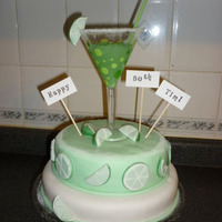 Margarita Cake 50th birthday cake, 8 and 10 inch single layer, fondant on buttercream, green jello margarita, sugar rim.
