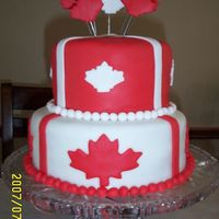 "Canada Day Cake 2007 This cake is an 8"" and 6"" red velvet cake covered in fondant with fondant decorations."