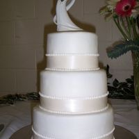 Another Simple Wedding Cake This one is almost identical to the last wedding cake I made, but this time I got paid for it - yay! Very simple fondant with ribbon and...