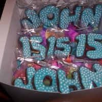 15Th Birthday Cookies For Twins (Set 1) I made two sets of these cookies for my boyfriend's twin brothers for their 15th birthday. They're chocolate cut-outs with robin...