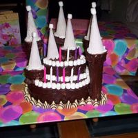 Black And White Birthday Palace This was a cake my sister and I made for our mom's birthday. It was a yellow cake with chocolate frosting. The turrets are made out of...