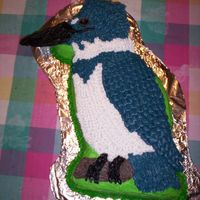 Bird (Kingfisher) Birthday Cake Made using Wilton's Partysaurus cake pan. I added cut-to-size sugar cookies for the parts of the crest, beak, and tail that extended...