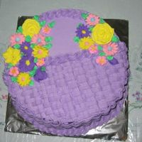 Purple Basket Of Flowers Purple Yam cake filled with purple yam jam... BC and royal icing flowers....