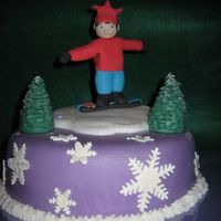 Snowboard Boy loves purple and snowboarding, has a cap just like the one on his head, specially for snowboarding