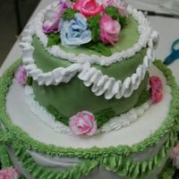 Cake Final Ii   Green - rolled BC -hated it but i love the colors I think it looks romantic