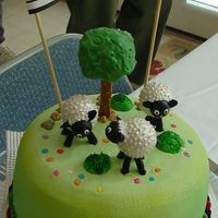 We Will Miss Ewe The cake is vanilla with chocolate buttercream filling and buttercream icing. The sheep were constructed by me from dylite foam balls,...