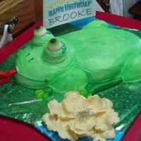 Birthday_Frog_Side.jpg Lemon cake with lemon icing. Frog was sprayed green. The legs are half mini hearts and fondant covered sticks with candy toes. The eyes are...
