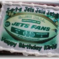 Ny Jets Cake..   Cake with edible image..