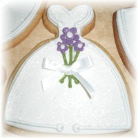Wedding Dress Cookie   NFSC covered with fondant and royal icing accents,