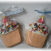 Cupcake Cookies..   NFSC with fondant and royal accents, and sprinkles!