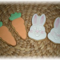 Carrot And Easter Bunny Cookies..   NFSC with fondant and royal icing accents..