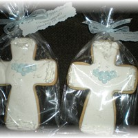Cross Cookies..   NFSC with fondant and royal icing accents..