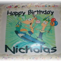 Phineas & Ferb Birthday Cake..   Birthday cake with edible image..