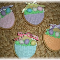 Easter Basket Cookies..   NFSC with fondant and royal icing accents and jelly beans!