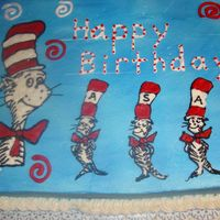 Cat In The Hat   For my little boy's 5th birthday...the little cats spell out his name, Asa. Chocolate cake with buttercream.