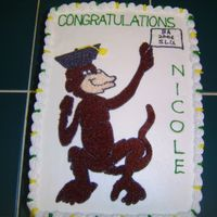 "Monkey Grad  For college grad who's nickname is ""Monkey"". I used the pinprick transfer method to outline the monkey and filled in with..."