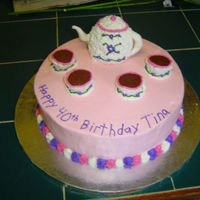 Teapot Cake  I made this for my sister's 40th birthday, she was expecting a black tombstone! 12 inch round cake with mini wonder mold teapot and...