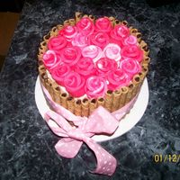 Valentines Day Made this just for fun 6 inch with BC, I cant ever remember the name of those cookies I think it starts with a P... anyway fondant rose and...