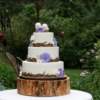 Fall Mum Love Birds Wedding   Beautiful outdoor setting for this cake.