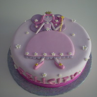 Fairy Princess Cake Vanilla cake with strawberry buttercream and fondant.