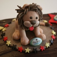"Lion Cake Topper 12"" mud cake, made for a U11's Rugby Union team presentation day"