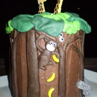 5Th Birthday Jungle Cake With scary eyes peeking out and a cheeky monkey, this one went down a treat with the 5 years olds!