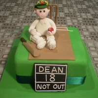 Cricket Cake For a die hard Aussie Cricket fan on his 18th birthday. Chocolate mud cake underneath.