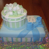 Gift Boxes My friend's favourite colours are turquoise and apple green and this was for a surprise party her husband gave her. Both cakes are...
