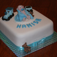 Hamish's Baptism Cake Baptism cake for a little baby boy. Chocolate mud cake underneath.