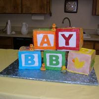 Baby Blocks  The blocks are 6 inches. If the duck block looks different it's because it is sugar free cake with sugar free whipped topping, while...