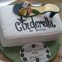 Cinderella Shoes My mom loves cinderella of boston shoes, this was her birthday cake, Shoe is made out of gumpaste and all hand colored.