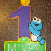 Mikey's Cookie A cookie I designed for my nephews 1st birthday with cookie monster