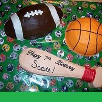 Baseball, Football, And Basketball Cake I made this for a 10 year old boy who was obsessed with these 3 sports. All icing is butter cream. My instructions on how I made this cake...