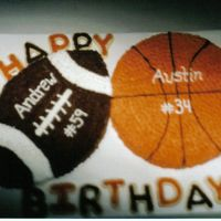 "Sports Birthday The football was cut from 10"" round cake and the basketball was also a 10"" round cake. The cake is Golden butter with peanut..."