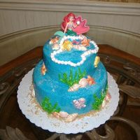 The Little Mermaid Airbrushed butter cream icing with chocolate melt sea shells, fish, etc.