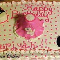 Saddle Shoes, Poodle Skirt, And A Record this cake was 1/2 choc and 1/2 vanilla. BC frosting and designs of shoe, skirt and record done in MMF