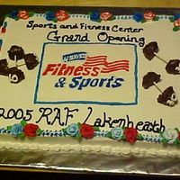 "Base Gym's Grand Opening I made a ""big events"" cake for our Base gym here that has it's grand opening on the 3rd of October. It was half choc/have..."
