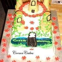 "Little Girlie Castle  this was a yellow cake 1/4 sheet, 6"" square, and a double layer 6"" round...vines all over with little drop flowers, moat and moat..."
