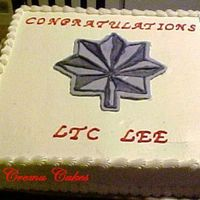Lt. Col Promotion Cake  This cake was done for a Lt. Col's promotion in the Air Force...but dingaling me put the LTC for the abreviation instead of Lt. Col......