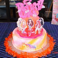Bratz   10 x 3 cake with foam topper.