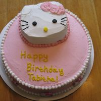 Hello Kitty Birthday Cake I used a small Hello Kitty cake pan (very tough to find) and buttercream.