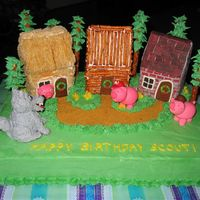 Three Little Pigs  For my granddaughter's 3rd birthday--I used Susgene's cake from September and made little houses out of embellished graham...