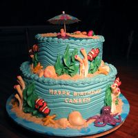 Under The Sea   Buttercream icing, all decorations are gumpaste, except for the umbrella--ran out of time, and had to purchase it.