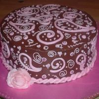 Pink Choco Paisley This is just a cake I whipped up (1 of 3 in 8 hrs) for a cake walk during the national night out thingy yesterday. It's devil's...