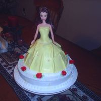 "Belle From Beauty & The Beast This was my first doll cake I did for a little girls 5th birthday. It is on top of a 10"" round cake iced with buttercream icing and..."