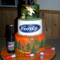 Chris's Birthday  3 tier cake I made for my Uncle's birthday....He's an avid hunter/camper, and his nickname is Fordy, so this is what I came up...